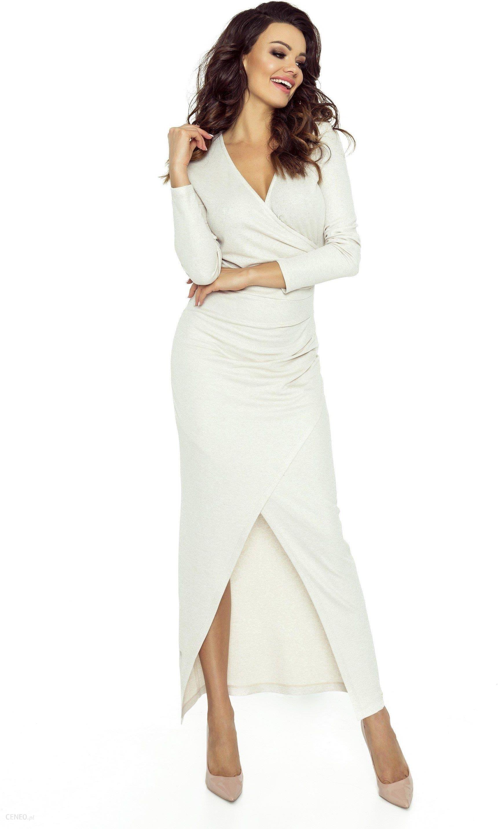 5e733fcecc Kopertowa sukienka maxi Beżowa - Merita z długim rękawem - Ceny i ...