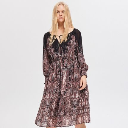 072580429f Reserved - Wzorzysta sukienka - Czarny ...