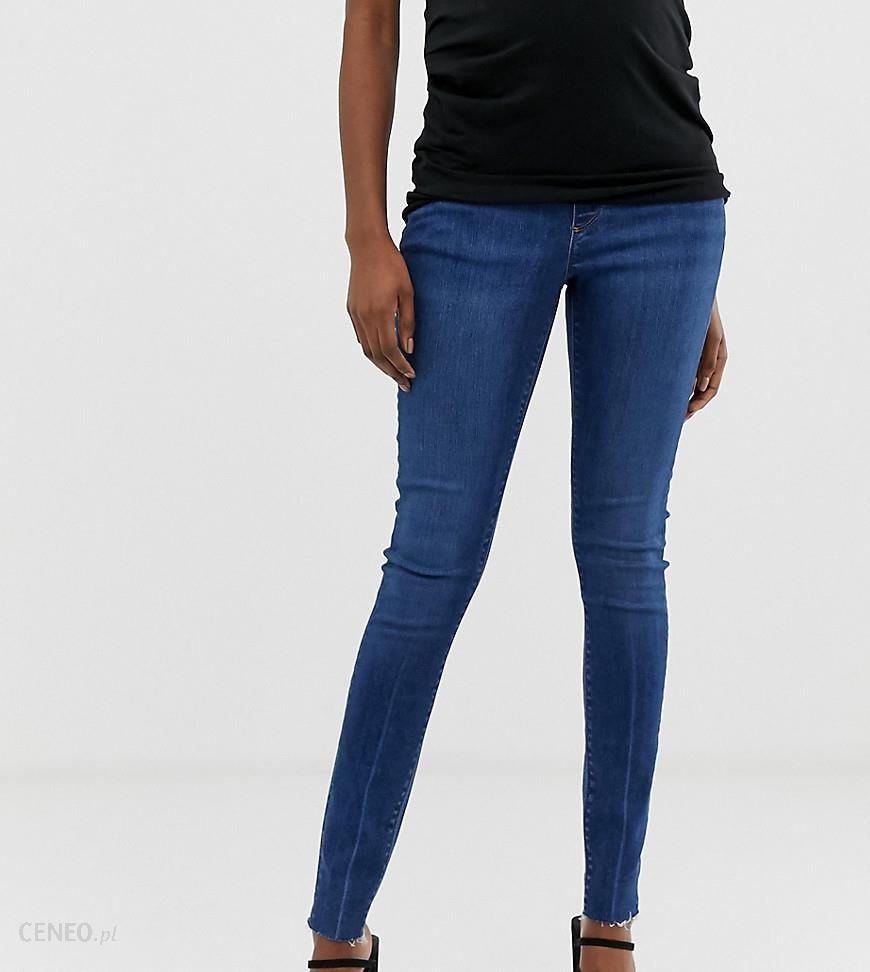 803e22880420 ASOS DESIGN Maternity Ridley high waist skinny jeans in dark stone wash  with raw hem detail