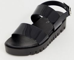 8229a8b08e69 ASOS DESIGN Wide Fit Fadey chunky jelly flat sandals - Black - zdjęcie 1