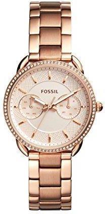 96eaa436b Amazon Fossil damski zegarek na rękę Tailor wielofunkcyjna kwarc stal  nierdzewna różowo-złoty es4264