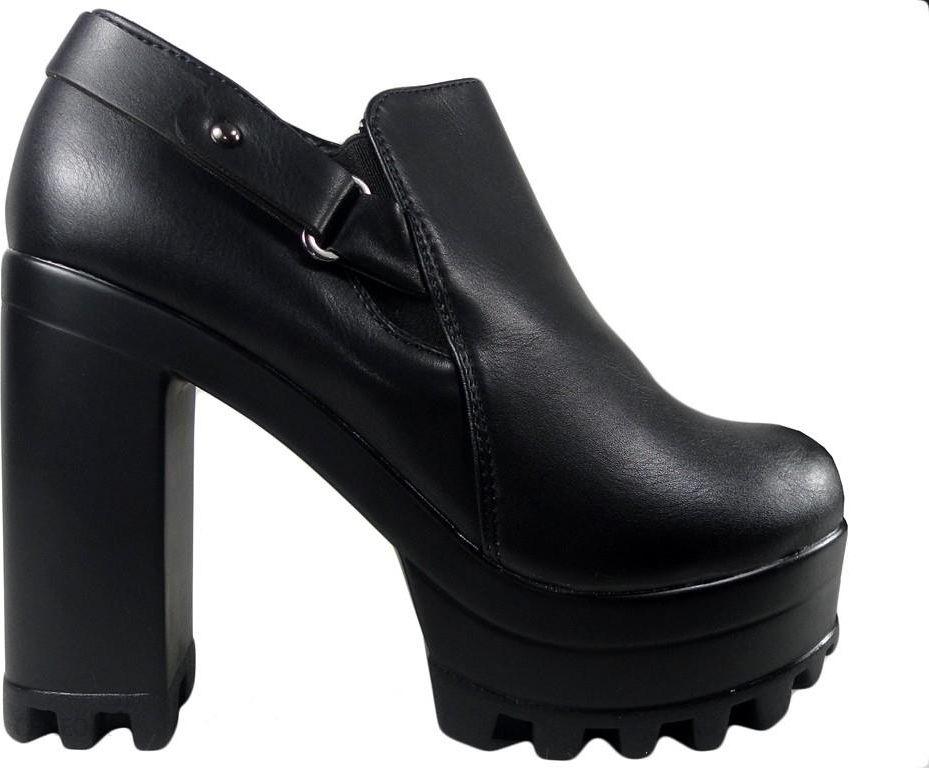 d94122e9cb51b Wysokie czarne botki buty na klocu platformie 40 - Ceny i opinie ...
