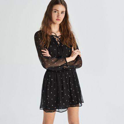 3b5523d318 Sinsay - Czarna sukienka z kontrastowym wzorem - Czarny ...