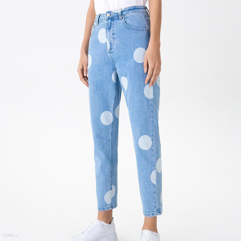House Mom jeans w grochy Niebieski Ceny i opinie Ceneo.pl