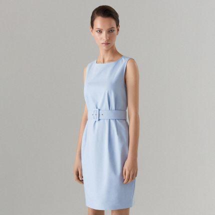 82d4cd0236 Mohito - Dopasowana sukienka z paskiem Celebration - Niebieski Mohito