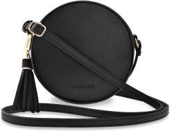 Okrągła listonoszka monnari mała torebka damska przewieszka z chwostem czarny