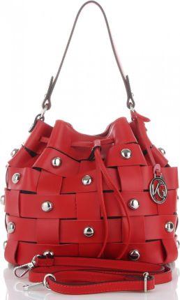 007a4532f27ad Vittoria Gotti Modne Torebki Skórzane Oryginalny Shopper produkcji Włoskiej  z Nitami Czerwone (kolory)