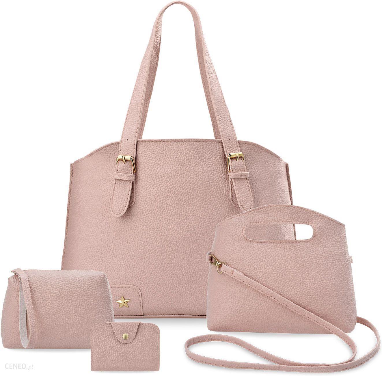 456b55fda0e14 Komplet torebek damskich 4w1 shopper bag torebka listonoszka saszetka etui  - różowy - zdjęcie 1