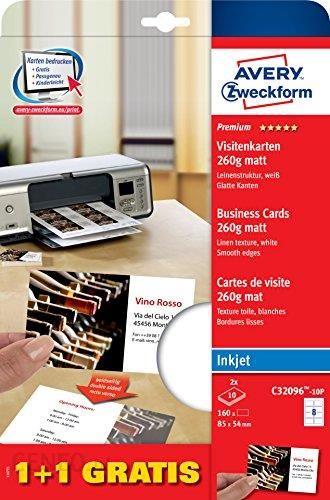 Amazon Avery Zweckform C32096 10p Premium Wizytówki Struktura Płótna 260 G 85 X 54 Mm Białe Ceneo Pl