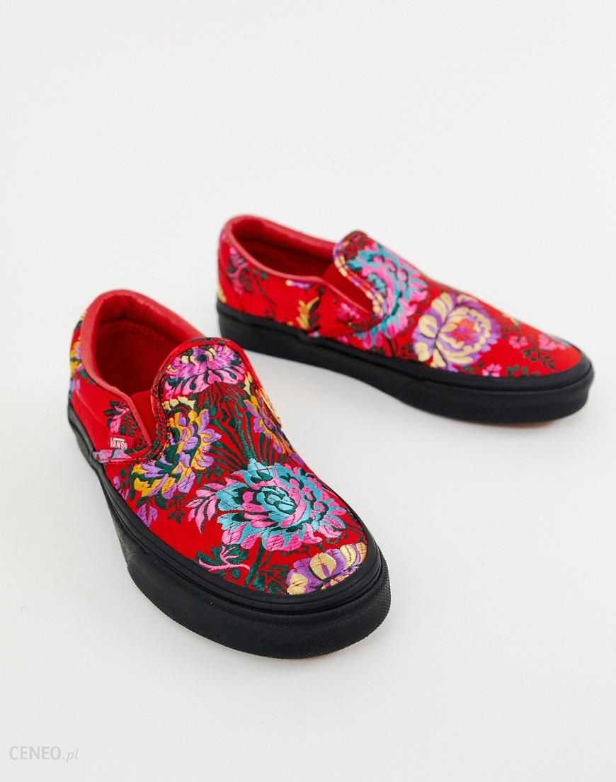 Vans Classic Slip On red floral satin trainers Red Buty damskie czerwone w Asos