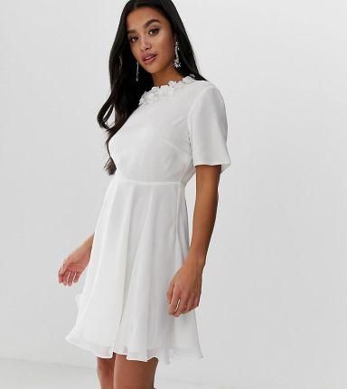 595babeecfcce2 ASOS DESIGN Petite crop top embellished neckline mini dress - Multi