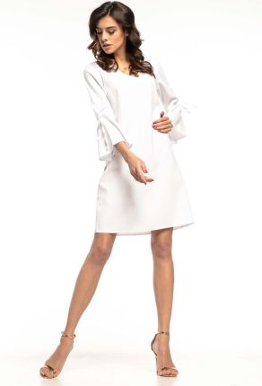 7040d57e93 Tessita Biała Wizytowa Luźna Sukienka z Kloszowanym Rękawem