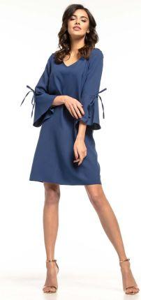 11afacde57 Tessita Granatowa Wizytowa Luźna Sukienka z Kloszowanym Rękawem