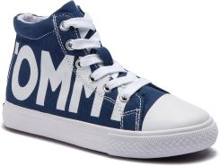 f6c0c26678159 Trampki TOMMY HILFIGER - High Top Lace-Up Sneaker T3B4-30275-0618 Blue  eobuwie