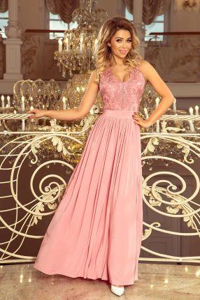 7f8b306d9f9f55 Długa suknia bez rękawków z haftowanym dekoltem - pudrowy róż