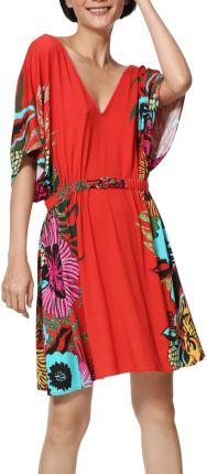 40beaebd8b Desigual czerwona sukienka Vest Valeria z kolorowymi motywami - XL