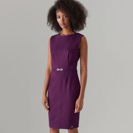 467f4fb916 Mohito - Dopasowana sukienka z paskiem - Fioletowy Mohito
