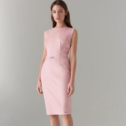 a40d559b0c Mohito - Dopasowana sukienka z paskiem - Kremowy Mohito