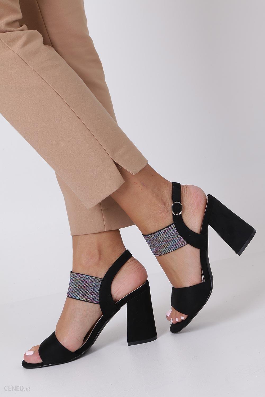 d8dc82c1f553 Czarne sandały z gumką na szerokim słupku Sergio Leone SK856 - zdjęcie 1