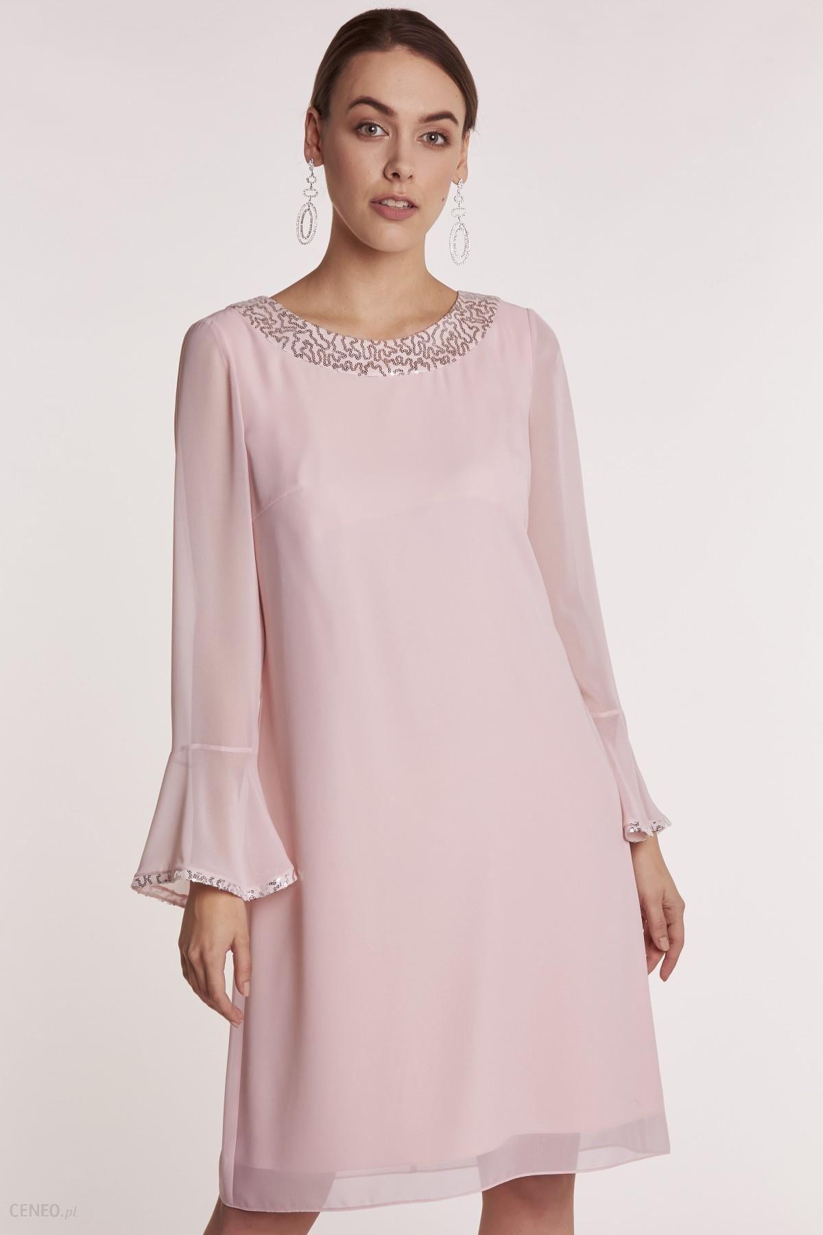 1429c117 Różowa sukienka z cekinami Greis