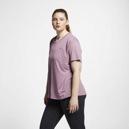 bb23642bb86b6f Damska koszulka z krótkim rękawem do biegania Nike Miler (duże rozmiary) -  Fiolet ...