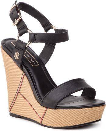 7948c771ae561 Sandały TOMMY HILFIGER - Elevated Leather Wedge Sandal FW0FW03943 Black 990  eobuwie