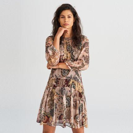 3f526439b7 Reserved - Wzorzysta sukienka - Wielobarwn ...