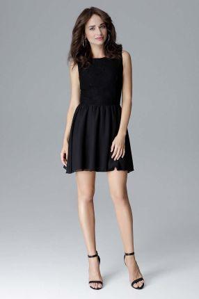 5f1695c96e Czarna Kobieca Sukienka bez Rękawów z Rozkloszowanym Dołem
