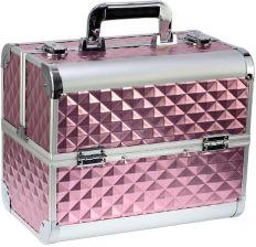 3f193d9ce517c Kuferek kosmetyczny aluminiowy diamonds 3D Różowy 4 szuflady