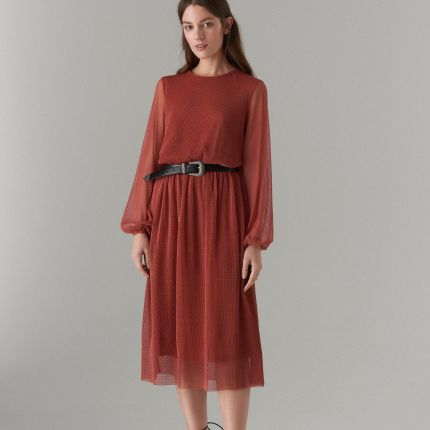 505689990e Mohito - Midi sukienka z długimi rękawami - Brązowy Mohito