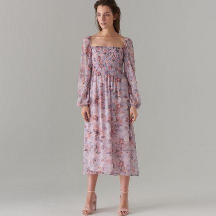 3aaddc1a32 Mohito - Szyfonowa sukienka w kwiaty - Niebieski Mohito