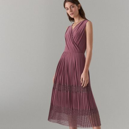 b82572b75b Mohito - Plisowana sukienka z kopertowym dekoltem - Różowy Mohito