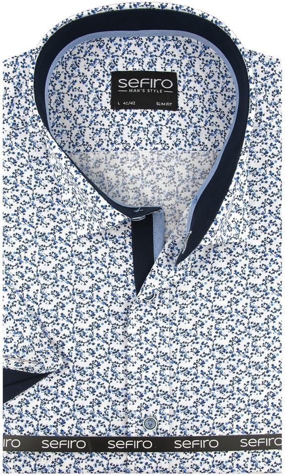 e98ca6fd88c042 Koszula Męska Sefiro biała w granatowe kwiatki SLIM FIT na krótki rękaw  K773 - 45/