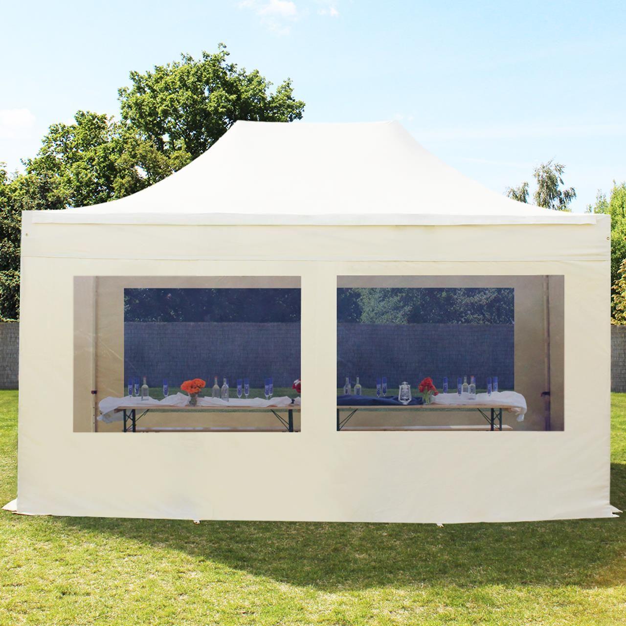 Profinamiot Pawilon Ogrodowy Pesściany Boczneokna Panoramiczne Alu Professional Kremowy 3x4m