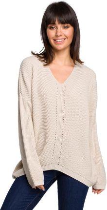 48d1dc2032 MOE Beżowy Oversizowy Sweter w Serek z Asymetrycznym Dołem