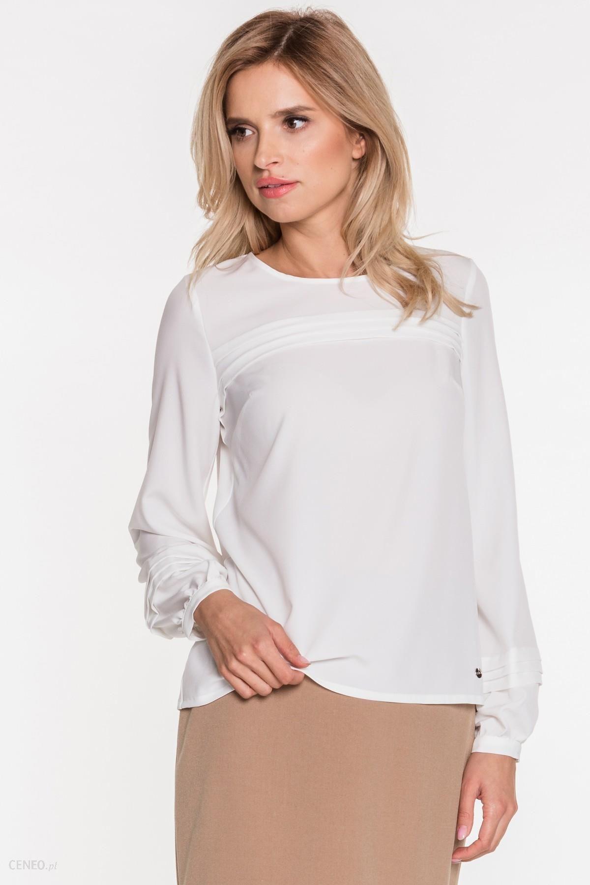 e8523da257ca92 Biała bluzka z ozdobnymi zakładkami - Ceny i opinie - Ceneo.pl