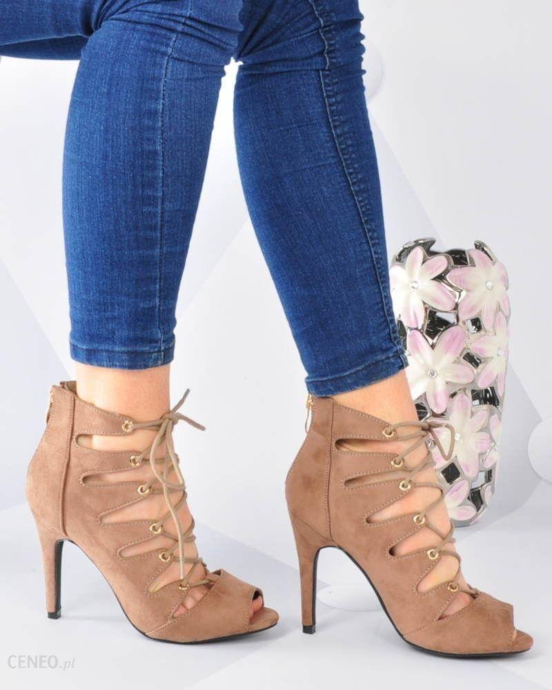 sandały na szpilce khaki