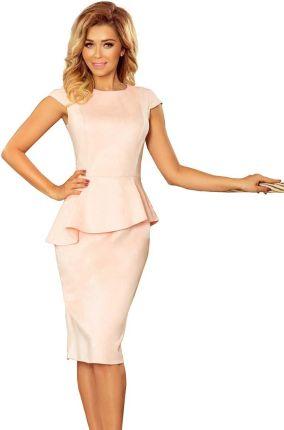 0204d51121 Numoco Jasnoróżowa Elegancka Ołówkowa Sukienka Midi z Asymetryczną Baskinką
