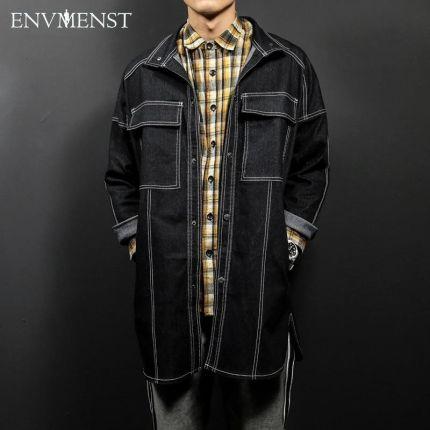 f38727291d8a7 AliExpress 2017 envmenst clothing brand jeans płaszcz dla mężczyzn duża  kieszeń zaprojektowany długi style znosić wysokiej