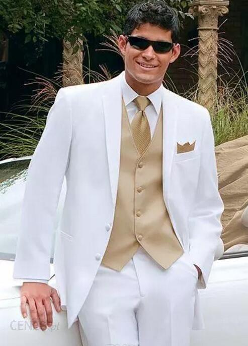 f23bf3f6e5a47 AliExpress Białe garnitury ślubne dla mężczyzn złota kamizelka Kurtka +  Spodnie + Krawat + Vest mens