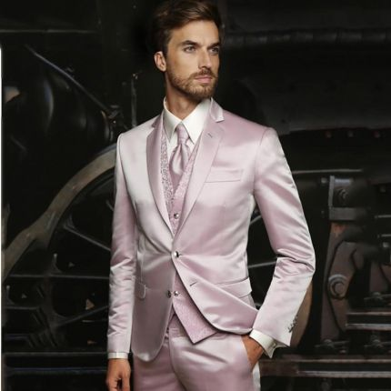 ea12ed1f9e699 AliExpress Najnowsze Wzory Płaszcz Pant Hot Pink garnitury ślubne Dla  Mężczyzn 3 sztuk Garnitur Mężczyźni Formalna