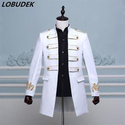 8c54e402e0f06 AliExpress 2017 moda męska costume długa kurtka marynarka Mężczyzna groom  prom ubrania piosenkarka tancerz wydajności gwiazda