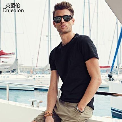 c84476ed0f6f7 AliExpress Enjeolon marka krótki rękaw cotton t shirt człowiek stałe O neck  tee baza jakości ubrania