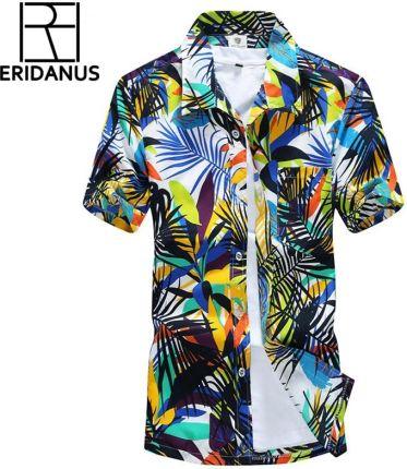 4a3a71a79a AliExpress 2016 Lato Koszula Hawajska Men Casual Plaża Slim Moda Kwiatowe  Koszule Palmera Kokosowy Drukowania Camisa