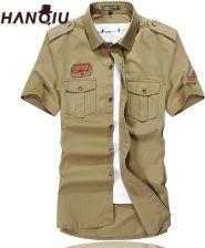 18e958cb88e21e AliExpress HANQIU Cargo Koszule Mężczyźni Lato Moda Solidna Bawełna Krótki  Rękaw Koszulka Homme Mężczyzna Camisa Masculina