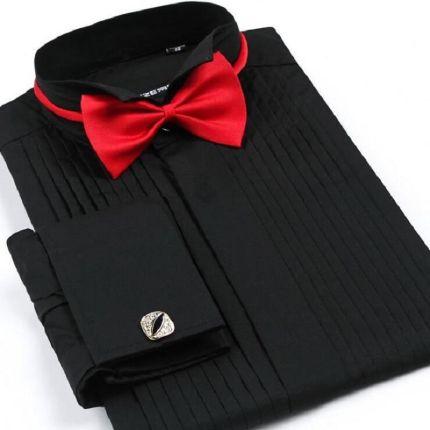 628d5fbfef AliExpress Plus Rozmiar Elegancki Mężczyzna Biznes Casual Długi Rękaw  Koszulka Biały Niebieski Czarny Groom Koszula W