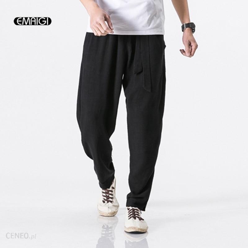 AliExpress 5 Kolory męska Cotton Linen Casual Spodnie Jogger Spodnie Dresowe Męskie Oddychająca Komfort Luźne Spodnie Harem Plus Size M 5XL Ceneo.pl