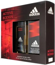 Adidas Active Bodies Dezodorant naturalny spray 75ml + Woda toaletowa 100ml