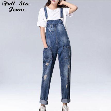fe1b95d015 AliExpress Plus Size Kobiet Szerokie Nogawki Luźne Zgrywanie Denim  Kombinezony Europa Kombinezon Chłopaka Hole Kieszenie Jeans
