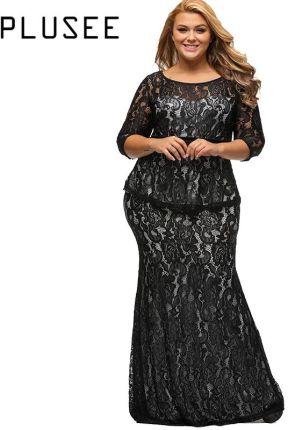 aa720b8b72 AliExpress Plusee Plus rozmiar koronki sukienka kobiety Bodycon Sexy  okrągły dekolt jesień Party suknia kostek sukienka